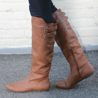 """Proud"" Knee High Flat Boots with Buckle Straps - Camel"