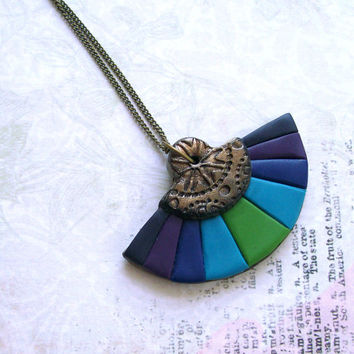 Colorful oriental fan necklace romantic polymer clay turquoise blue teal purple violet banana green stripey striped pendant bronze center