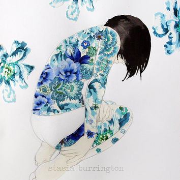 Blue Backpiece - original mixed media fabric and paper collage