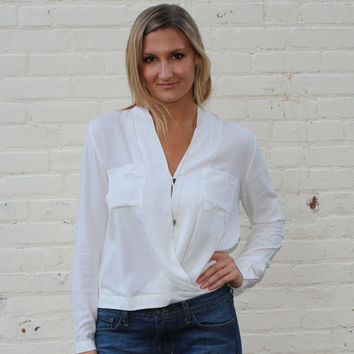 Crossover Blouse with Pockets - White – H.C.B.