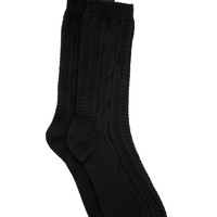 FOREVER 21 Cable Knit Crew Socks