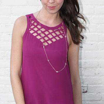 Sleeveless Blouse with Cut Out Neckline - Magenta – H.C.B.