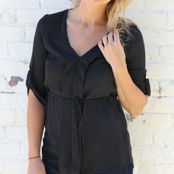 Pleated Front Blouse with Tie Waist - Black – H.C.B.