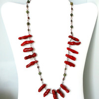 Red Coral and Olive Green Gemstone Summer Necklace