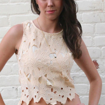 Crochet Lace Crop Top - Beige – H.C.B.