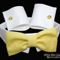 Designer Dog Collar , Bow Tie, and Cuffs, Formal, Buttercup Tie, White Collar cuffs