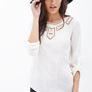 Mosaic Cutout Embroidered Blouse