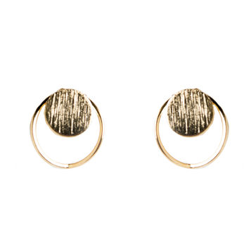 Circle Dot Cut Out Stud Earrings - Gold - Gold / One