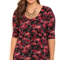 Plus Size Floral Print Bodycon Top with Elbow Length Sleeves