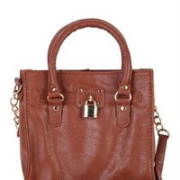 2 Handle Tote Bag with Lock Charm and Long Strap