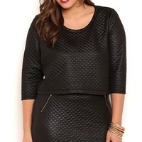 Plus Size Quilted Mini Skirt with Front Zippers