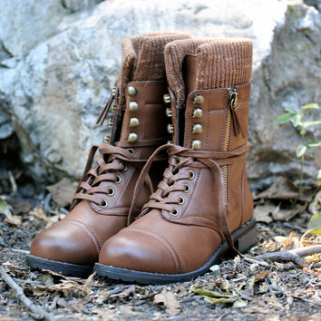 RESTOCKED the brown combat sweater boots booties shoes boot shoe bootie socks cozy winter fall fashion must have back to school