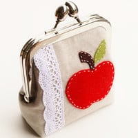 Apple Coin Purse, Teacher Gift, Metal Kisslock Applique Pouch in Oatmeal Linen, Light Blue, and Red - Made To Order