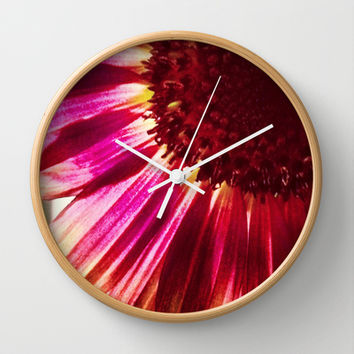 Pink Sunflower Wall Clock by Legends of Darkness Photography