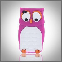 Flexa by CellXpressionsTM - Bright Pink & White Owl flexible silicone soft skin case cover for Apple iPhone 4 4G 4S