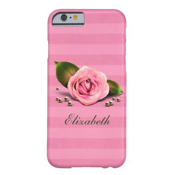 Pink Rose and Stripes iPhone 6 Barely There Case