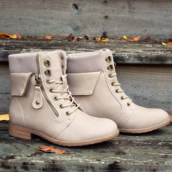 Sergeant Sassy Beige Sweater Ankle Fold Over Boots
