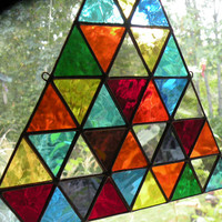 Stained Glass Triangle window hanging
