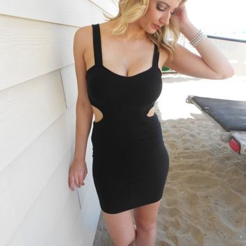 Black Side Cutout Bodycon Dress