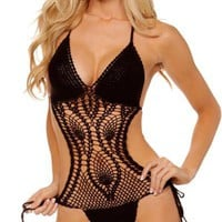 Sexy Tie Side Crochet One Piece