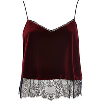 Red velvet lace cami top - cami / sleeveless tops - tops - women