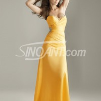 Buy Elegant Gold A-line Sweetheart Beaded Matte Satin Floor Length Homecoming Dress  under 200-SinoAnt.com