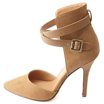 ANKLE WRAP POINTED TOE D'ORSAY HEELS