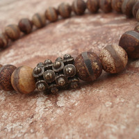 Tibetan Agate Bracelet, Fired Etched Tibetan Agate with Antique Bronze Spacers