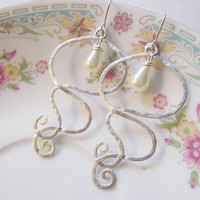 Silver Earrings with Creamy Oval Pearls --Bohemian Swirls - Bridal Jewelry-Wedding
