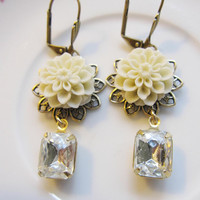 Cream Mum Flower and Rhinestone Earrings - Summer Elegance, Bridal, Wedding Jewelry