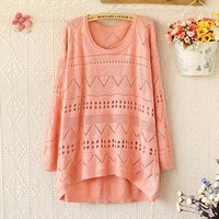 Woman's Hollow Out Round Neck Sweater