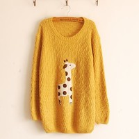 Woman's Giraffe Pattern Round Neck Sweater