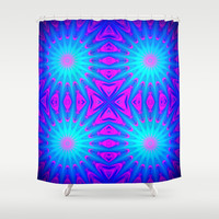 Pink & Blue Starlight Explosion Pattern Bright Shower Curtain by 2sweet4words Designs | Society6