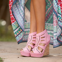 Peep Toe Lace Wedges Pink