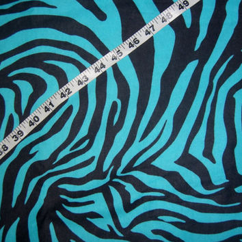 Tiger flannel fabric zebra  stripes black on blue cotton quilting sewing material by the yard 1yd BTY