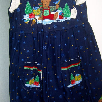 Little girls Christmas dress Teddybear Teddy Bear on Blue cotton holiday jumper with pockets Size 8