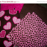 """Flannel rag quilt kit  hearts and dots baby nursery fringed die cut fabric squares and batting  ready to sew 39""""x39"""" quilting"""