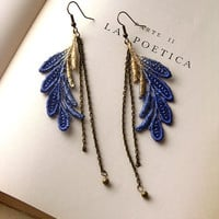 lace earrings - ELSA- cobalt and metallic ombre
