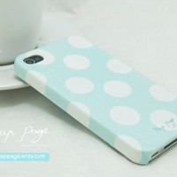 case for iphone 4 iphone 4s case , iphone case , Iphone 4, Blackberry mobile Case handmade: soft blue abstract dots