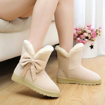 New fashion Bowknot warm women flats snow women boots autumn winter Shoes