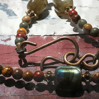 labradorite, Picasso jasper, and Vintaj antiqued brass necklace