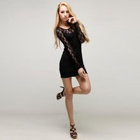 Sexy Lace Slim Black Dress - Designer Shoes|Bqueenshoes.com