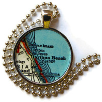 Daytona Beach Florida necklace pendant charm jewelry, Florida Jewelry