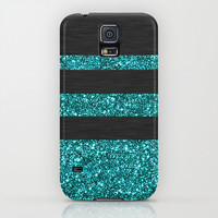Samsung Galaxy S5 Galaxy S4 iPhone 6 iPhone 6 Plus iPhone 5 iphone 5s iphone 5c iphone 4 iphone 4s iPhone 3 Phone Case. Blue Glitter Stripes