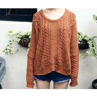 Funshop Woman's Braid Rond Neck Sweater 081228 Color Coffee