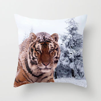 Siberian Tiger and Snow Throw Pillow by Erika Kaisersot
