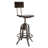 Rosie Mango Wood Adjustable Bar Chair Uttermost Swivel Bar Stools Kitchen &amp; Dining Furnitu