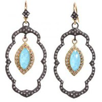 Turquoise & Diamond Lotus Drop Earrings