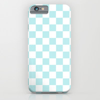 Turquoise Aqua Blue Checkers iPhone & iPod Case by BeautifulHomes | Society6
