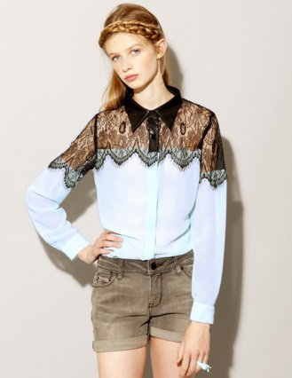 Blue lace insert blouse [God2633] - $42 : Pixie Market, Fashion-Super-Market